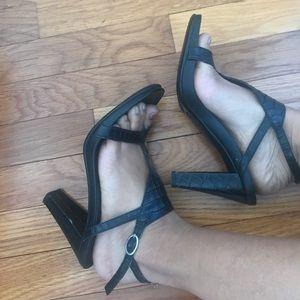 Strappy black textured heels
